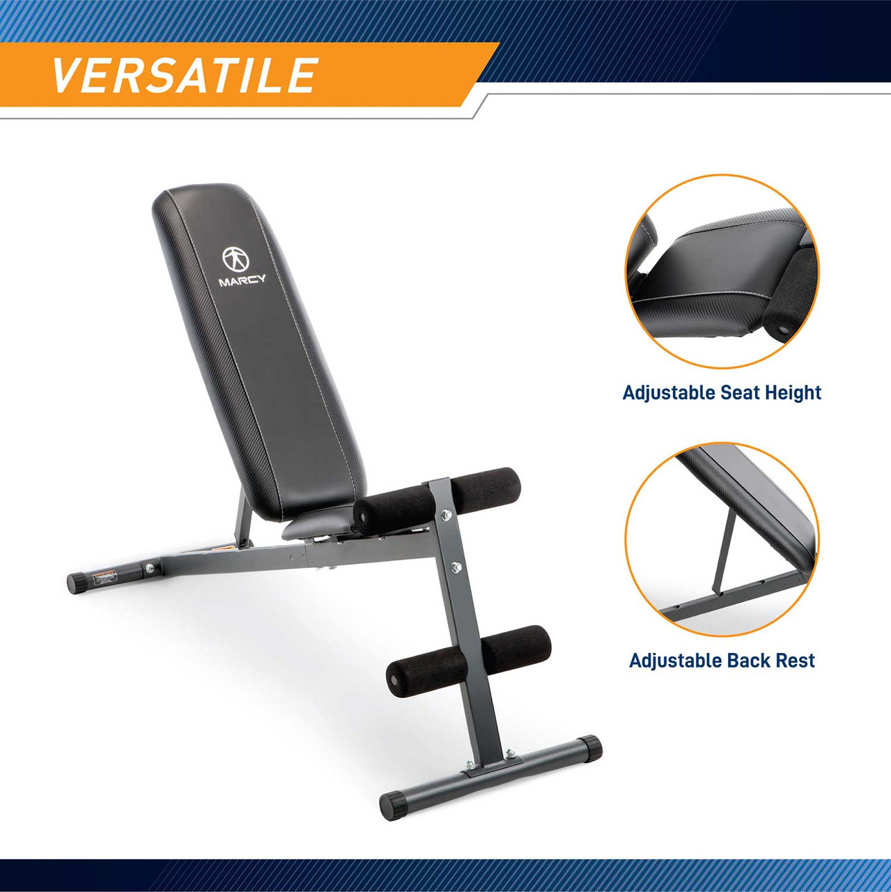 The Marcy Utility Bench SB-261W by Marcy is conveniently adjustable to vary your workout