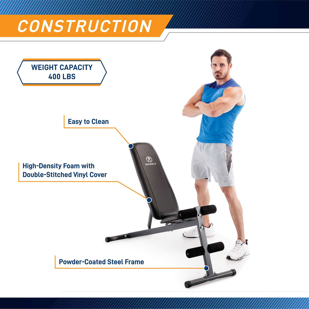 The Marcy Utility Bench SB-261W by Marcy adds variety to your workout with incline, decline, flat and Military positions