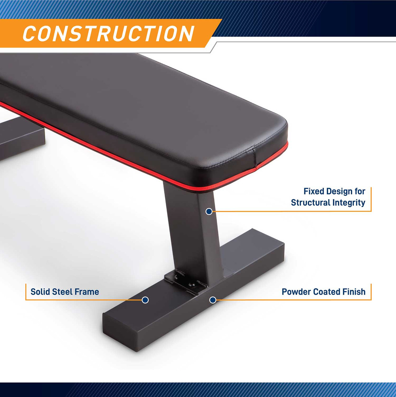 The Marcy SB-10510 Flat Bench is perfect for bench presses one arm rows and more