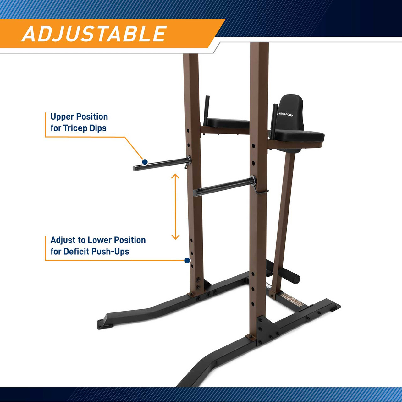 The Power Tower SteelBody STB-98501 has push up bars to offer a full body workout