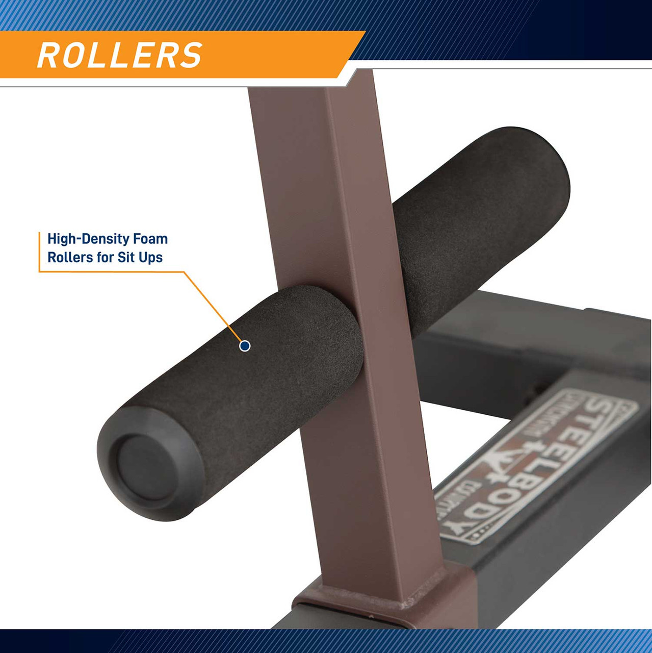 The Power Tower SteelBody STB-98501 includes padded foam rollers for sit ups