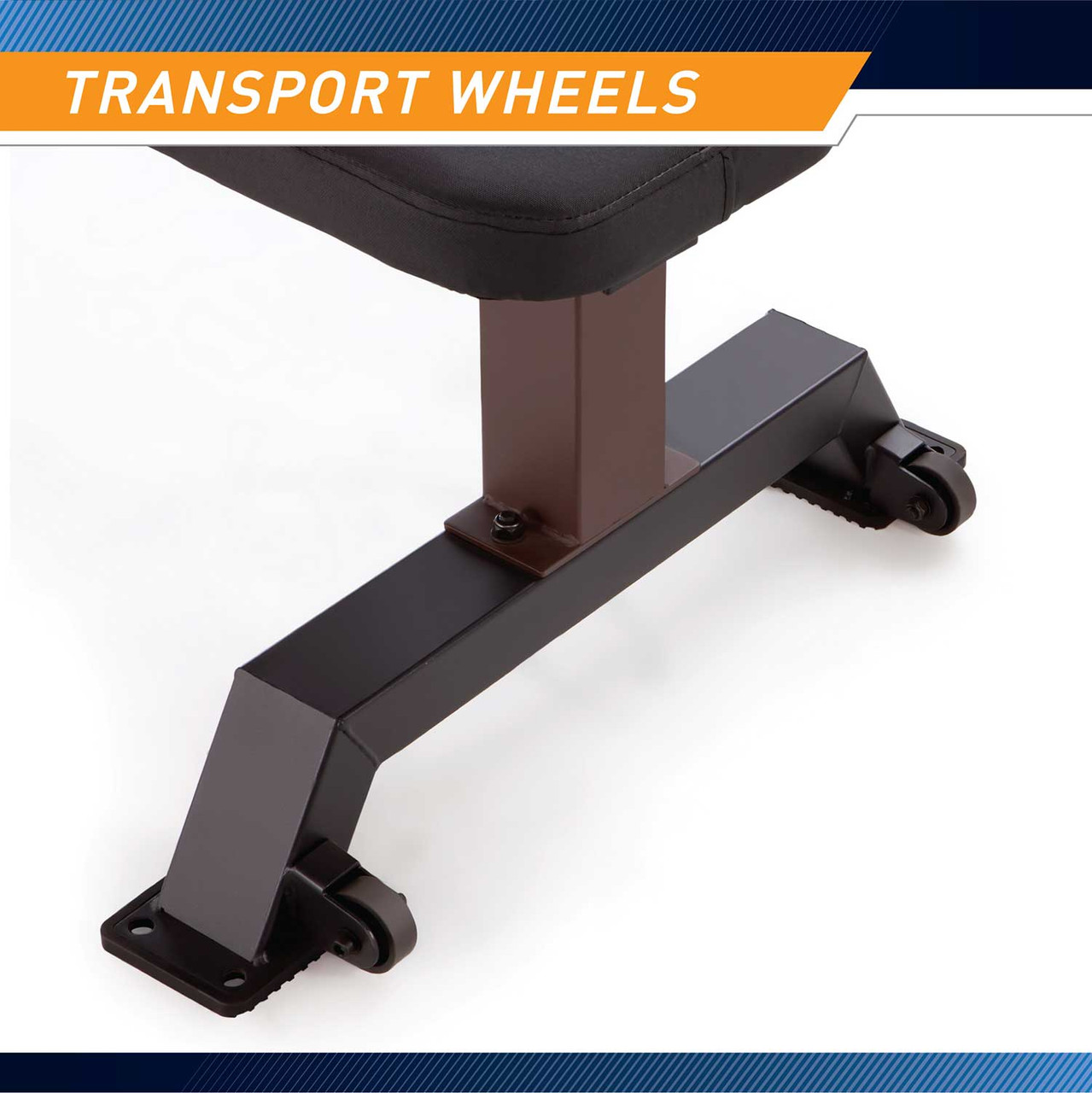 The SteelBody Flat Bench STB-10101 includes wheels for easy transportation