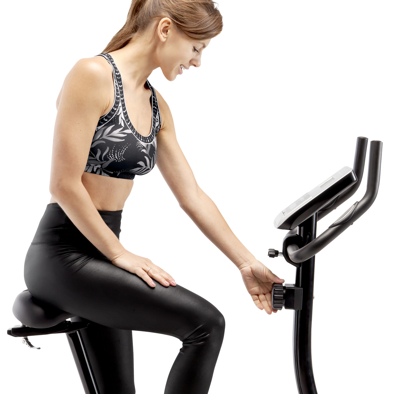 Marcy Magnetic Upright Bike ME-1016U has 8 levels of resistance that can easily be adjusted by turning the resistance knob