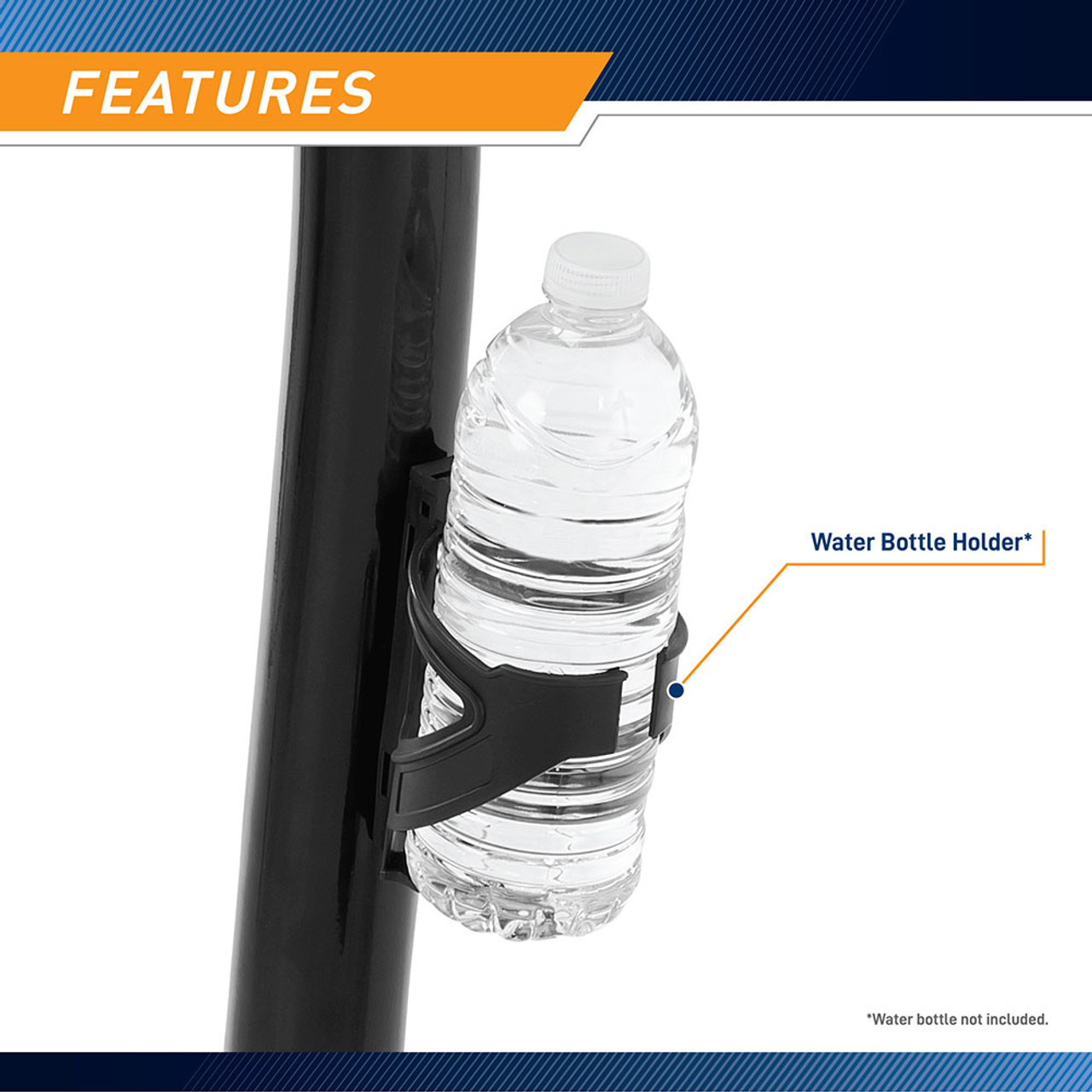 Marcy Magnetic Upright Bike ME-1016U has a water bottle holder to keep your favorite workout drink at arms length