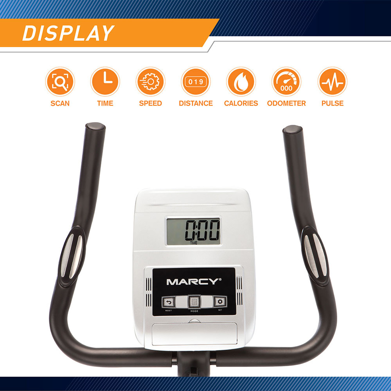 Marcy Magnetic Upright Bike ME-1016U has an LCD Computer display to keep track of calories, time and more