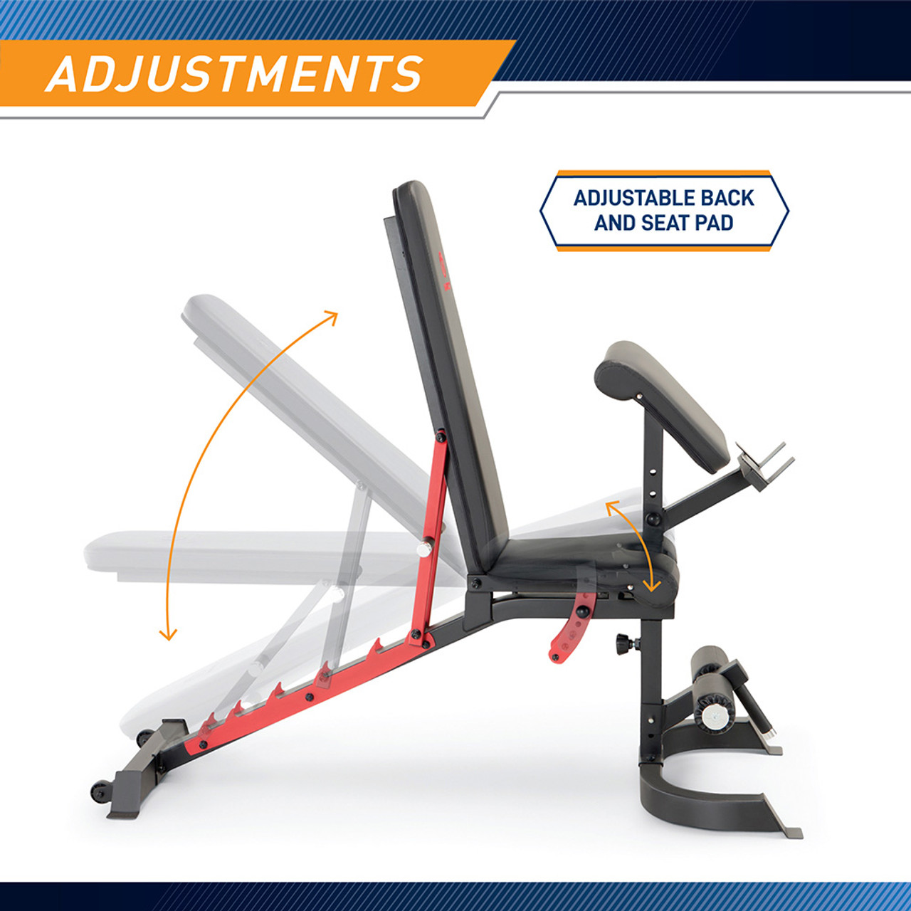The included bench adjusts at the back pad and seat pad to diversify your workout. In addition, the preacher curl pad and curl bar rest are removable