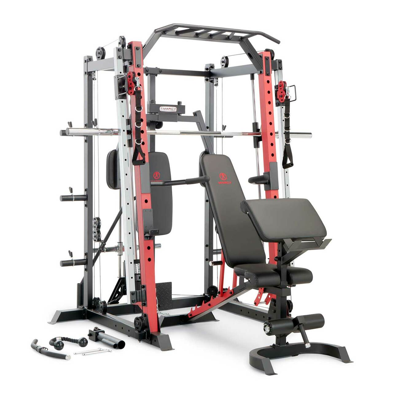 Get a Power Tower workout using the multi-grip pull-up bar and height adjustable dip bars.