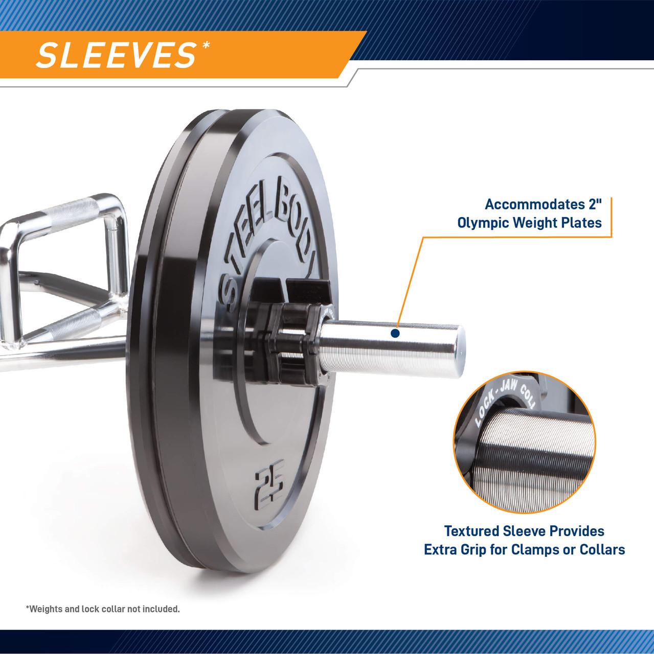 """Use 2"""" diameter Olympic plates with the SteelBody Olympic Hex Trap Bar"""
