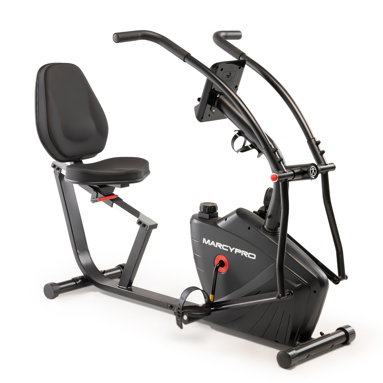 Comfortable Seat pad on the Dual Action Recumbent Bike