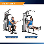 Marcy Home Gym System 150lb Weight Stack Machine  MWM-988 - Infographic - Leg Developer and Preacher Curl Pad