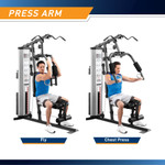 Marcy Home Gym System 150lb Weight Stack Machine  MWM-988 - Infographic - Dual Function Press Arms