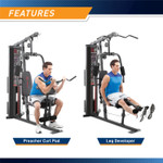 The Marcy 150 lb Stack Home Gym MWM-990 features a lat bar that is useful for bicep workouts and a leg developer for leg extension workouts