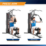 The Marcy 150 lb Stack Home Gym MWM-990 features butterfly handles that allow you to do fly and chest press exercises to workout the upper body muscles