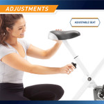 The Foldable Upright Bike Marcy NS-652 in Black has a knob that allows you to adjust the seat at different heights