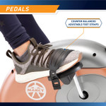 The Recumbent Bike ME-709 has looped pedals with grip for added safety - Infographic