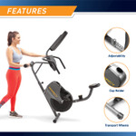 The Marcy Recumbent Magnetic Cycle NS-716R design makes it easy to store and transport the bike.