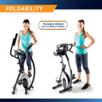The Marcy Foldable Exercise Bike with High Back Seat NS-653 folds to save space