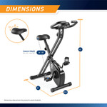 The Marcy Foldable Bike NS-654 in Black is 44 inches tall, 31 inches long, and 15.5 inches wide