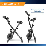 The Marcy Foldable Bike NS-654 in Black folds for easy storage
