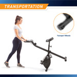 The Marcy Foldable Bike in  Black NS-654 is equipped with two transport wheels for easy transportation