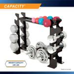 Compact Dumbbell Rack DBR-56 has a weight capacity of 400 pounds.
