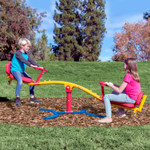 The  Gym Dandy Spinning Teeter Totter TT-360 Seesaw Play Set encourages kids to go outside to play