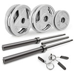 Varied size plates for the 110 lbs. Olympic Weight Set by Marcy will complete your home gym