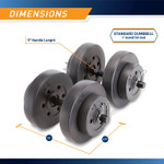 40 lbs Vinyl Dumbbell Weight Set by Marcy is 18 inches long and 8.75 inches wide