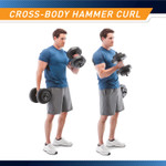40 lbs Vinyl Dumbbell Weight Set by Marcy is perfect for performing cross-body hammer curls that targets the biceps, forearm muscles, and brachialis