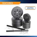 40 lbs Vinyl Dumbbell Weight Set by Marcy contains four pairs of weight plates that allows for a diversified workout