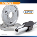The Marcy Solid Steel Olympic Curl Bar & Chrome-Plated Weight Bar SOC-49 is designed for olympic weight plates that have a 2 inch center diameter