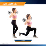 The Marcy Solid Steel Olympic Curl Bar & Chrome-Plated Weight Bar SOC-49 can be used for lunges to work out glutes, ham strings, and quadriceps