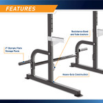 The Marcy Half Cage Rack SM-8117 has a pair of bar and safety catches