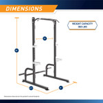 The Marcy Half Cage Rack SM-8117 is 86 inches tall, 61.5inches wide, and 51 inches long