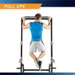 The Marcy Half Cage Rack SM-8117 includes a pull up bar that works the triceps, latissimus dorsi, and pectoral muscles