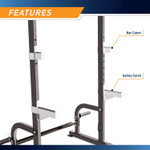 The Marcy Half Cage Rack SM-8117 features olympic plate storage posts and another pair of anchors for resistance bands