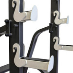 The Marcy Adjustable Squat Rack MWB-70100 includes multiple safety catches