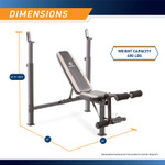Marcy Olympic Multipurpose Weightlifting Workout Bench - MWB-4491 is 41.5 inches tall, 65 inches wide, and 46 inches long