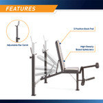 Marcy Olympic Multipurpose Weightlifting Workout Bench - MWB-449 features an adjustable bar catch and a back pad that has 5 moveable positions