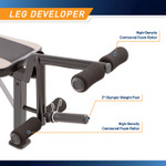 Marcy Olympic Multipurpose Weightlifting Workout Bench - MWB-449 features a leg developer