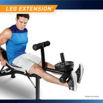 Marcy Olympic Multipurpose Weightlifting Workout Bench - MWB-449 leg developer works the rectus femoris and vastus medialis muscles