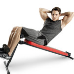 The Marcy SB-4606 Folding Utility Bench w/ Headrest Slant Board in use - declined sit ups