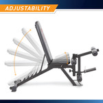 Marcy Deluxe Utility Weight Bench SB-350 - Infographic - Adjustable Back and Seat Pad