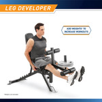 Marcy Deluxe Utility Weight Bench SB-350 - Infographic - Leg Developer