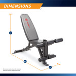 Marcy Deluxe Utility Weight Bench SB-350 - Infographic - Dimensions