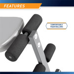 Utility Slant Board  Marcy JD-1.2 - Infographic - Adjustable Foam Rollers Anchor Positions