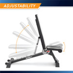 Adjustable Utility Bench  Marcy SB-670 - Infographic - Adjustable Back and Seat Pad