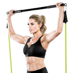 Bionic Body BBEB-020 Exercise Bar in use by Kim Lyons to add weight to her HIIT conditioning