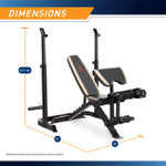 "The Marcy Two-Piece Olympic Bench MD-879 - Infographic - Dimensions 74""L x 60""W x 44.5"" - 64""H"