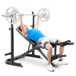 The Marcy Two-Piece Olympic Bench MD-879 with model doing incline bench presses